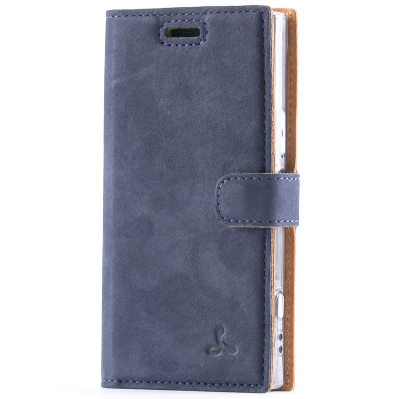 Vintage Navy Leather Wallet - Sony Xperia XZ1 Compact - Snakehive