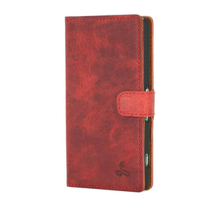 Vintage Burgundy Leather Wallet - Sony Xperia Z3 Compact - Snakehive