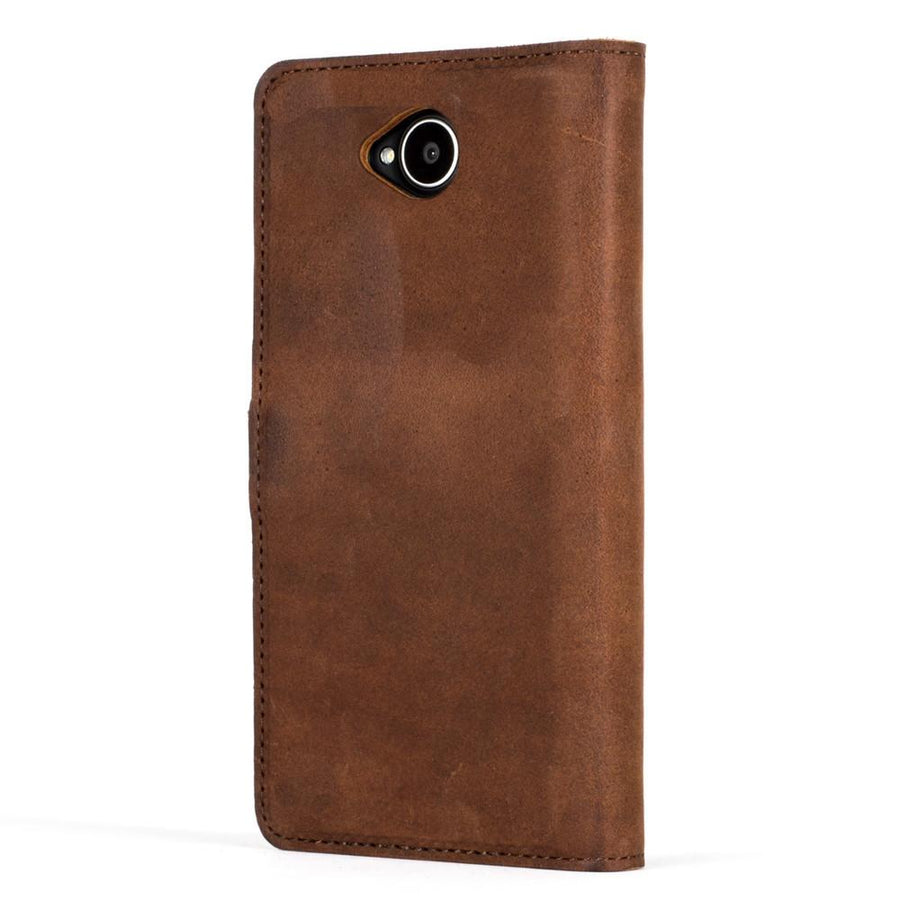 Vintage Chestnut Brown Leather Wallet - Microsoft Lumia 650 - Snakehive