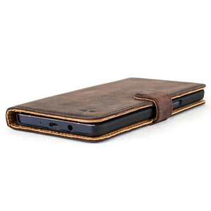 Vintage Chestnut Brown Leather Wallet - Samsung Galaxy A5 (2016) - Snakehive