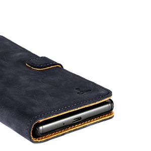 Vintage Navy Leather Wallet - Sony Xperia X - Snakehive