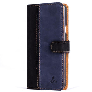 Vintage Two Tone Black/Navy Leather Wallet - Samsung Galaxy A3 (2016) - Snakehive