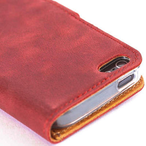 Vintage Burgundy Leather  Wallet - Apple iPhone 5/5S - Snakehive