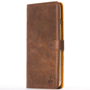 Vintage Chestnut Brown Leather Wallet - Apple iPhone 6 Plus/6S Plus - Snakehive