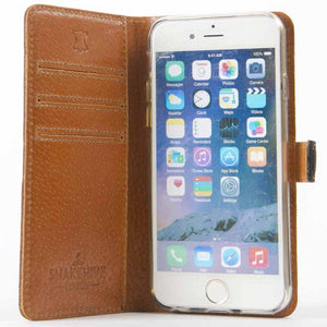"Vintage Two Tone Black/Brown Leather Wallet - Apple iPhone 6/6S (4.7"") - Snakehive"