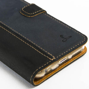 "Vintage Two Tone Black/Navy Leather Wallet - Apple iPhone 6/6S (4.7"") - Snakehive"