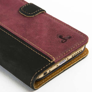 "Vintage Two Tone Black/Plum Leather Wallet - Apple iPhone 6/6S (4.7"") - Snakehive"