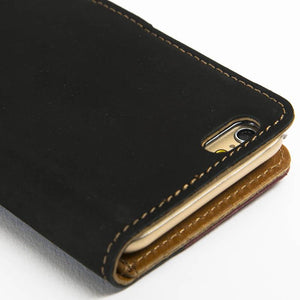 "Vintage Two Tone Black/Burgundy Leather Wallet - Apple iPhone 6/6S (4.7"") - Snakehive"