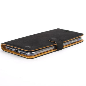 Vintage Black Leather Wallet - Apple iPhone 8 Plus - Snakehive