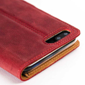 Vintage Burgundy Leather Wallet - Apple iPhone 8 Plus - Snakehive