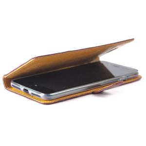 Vintage Two Tone Black/Chestnut Brown Leather Wallet - Apple iPhone 8 Plus - Snakehive