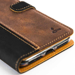Vintage Two Tone Black/Chestnut Brown Leather Wallet - Apple iPhone 7 Plus - Snakehive