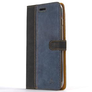 Vintage Two Tone Black/Navy Leather Wallet - Apple iPhone 8 Plus - Snakehive