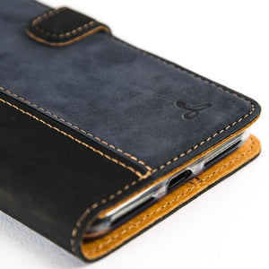Vintage Two Tone Black/Navy Leather Wallet - Apple iPhone 7 Plus - Snakehive