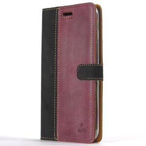 Vintage Two Tone Black/Plum Leather Wallet - Apple iPhone 8 Plus - Snakehive