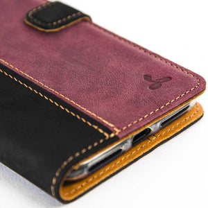 Vintage Two Tone Black/Plum Leather Wallet - Apple iPhone 7 Plus - Snakehive