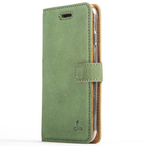 Vintage Bottle Green Leather Wallet - Apple iPhone 8 - Snakehive