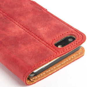 Vintage Burgundy Leather Wallet - Apple iPhone 7 - Snakehive