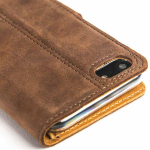 Vintage Chestnut Brown Leather Wallet - Apple iPhone 7 - Snakehive