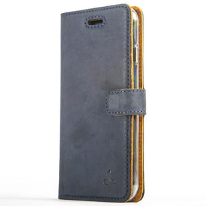 Vintage Navy Leather Wallet - Apple iPhone 8 - Snakehive