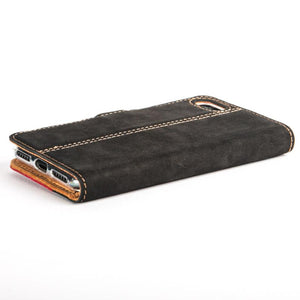 Vintage Two Tone Black/Burgundy Leather Wallet - Apple iPhone 8 - Snakehive