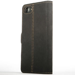 Vintage Two Tone Black/Brown Leather Wallet - Apple iPhone 8 - Snakehive