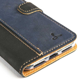 Vintage Two Tone Black/Navy Leather Wallet - Apple iPhone 7 - Snakehive