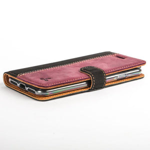 Vintage Two Tone Black/Plum Leather Wallet - Apple iPhone 8 - Snakehive
