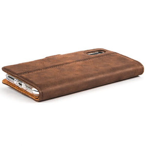 Vintage Chestnut Brown Leather  Wallet - Apple iPhone X - Snakehive