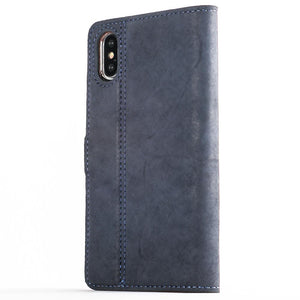 Vintage Navy Leather Wallet - Apple iPhone X - Snakehive