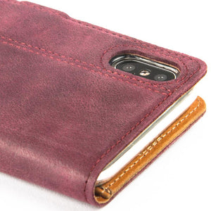 Vintage Plum Leather Wallet - Apple iPhone X - Snakehive