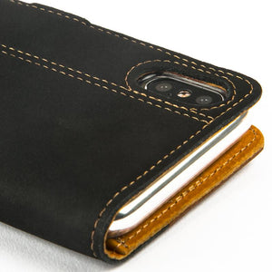 Vintage Two Tone Black/Brown Leather Wallet - Apple iPhone X - Snakehive