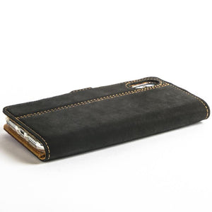 Vintage Two Tone Black/Navy Leather Wallet - Apple iPhone X - Snakehive