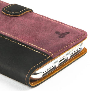 Vintage Two Tone Black/Plum Leather Wallet - Apple iPhone X - Snakehive