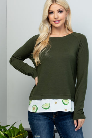 Green Sweater with Avocado Print