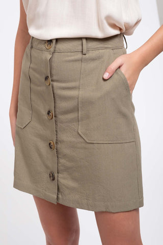 Pinstriped Button-Down Skirt