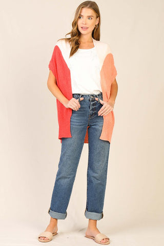 Color-Blocked Dolman Sleeved Cardigan
