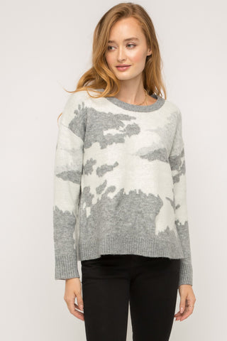 Gray Camo Cozy Sweater