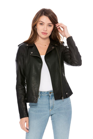 Brianna Vegan Leather Moto Jacket