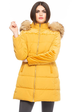 Soft Focus Hooded Coat - Mustard