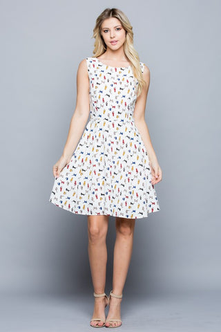 Colorful Cat Dress With Pockets