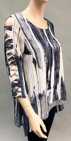 Striped top with Overlay and Cutout Sleeve