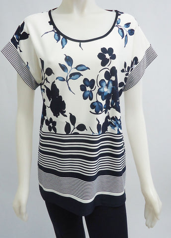 Floral and Stripe Top with Cap Sleeves