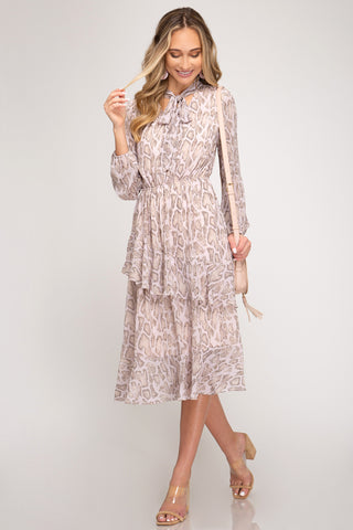 Neck Tie Snakeskin Dress
