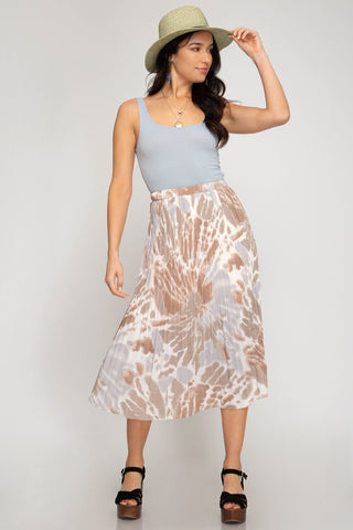 Midi Printed Pleated Skirt