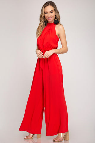 Mock-Neck Twist Jumpsuit