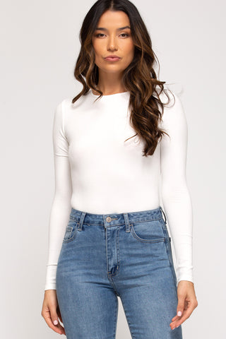 Long Sleeve Rib Knit Bodysuit