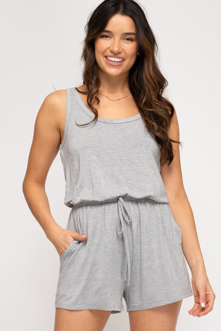 Gray Romper with Pockets