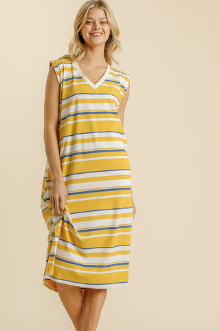 Stiped Midi Dress with Pockets