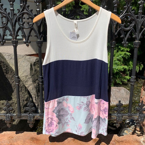 Color Block Floral Tank